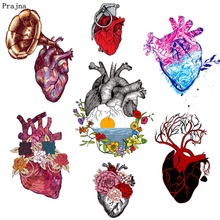 Prajna Heart Flowers Iron-on Transfers Vynil Heat Transfer Punk Brain Ironing Stickers T-shirt Thermal Patches For Clothing DIY prajna starry sky love letters iron on transfers for clothing diy heat transfer vynil thermal patches ironing stickers t shirt