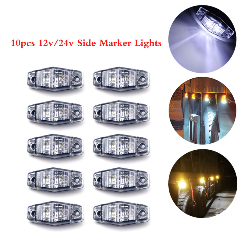 10pcs 12V/24V Signal Led Truck Lorry Side Marker Lights Signal Lamp Clearance Side Light Trailer Truck Light White