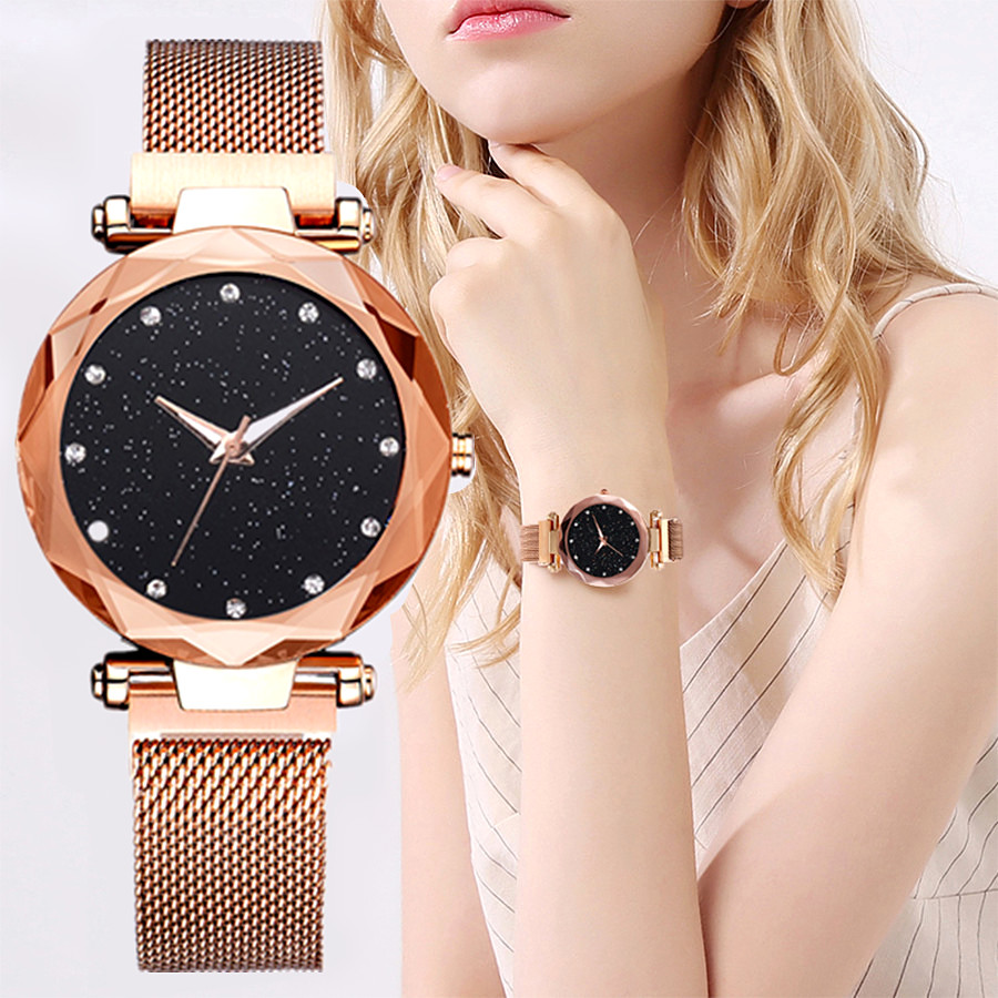 Relogio Feminino Women Watches New Brand Starry Sky Elegant Magnet Buckle Vibrato Rose Gold Ladies Wristwatch