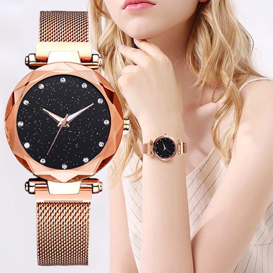 Relogio Feminino Women Watches New Brand Starry Sky Elegant Magnet Buckle Vibrato Rose Gold Ladies Wristwatch Luxury Watch Women