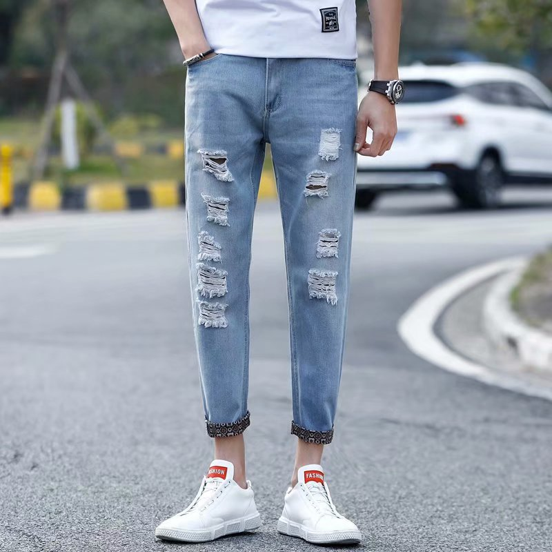 2019 New Style With Holes Jeans Men's Korean-style Trend Versatile Slim Fit Capri Skinny Pants Factory Price