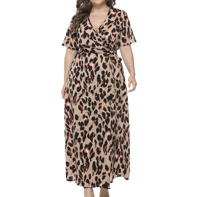 Plus sized v-neck long maxi dress, leopard print 5