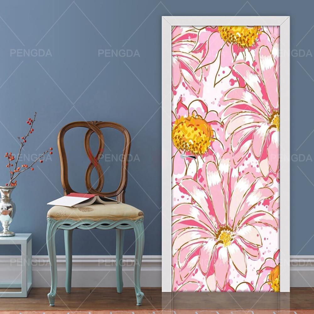 Abstract Flower Door Mural Wall Sticker Art Decal