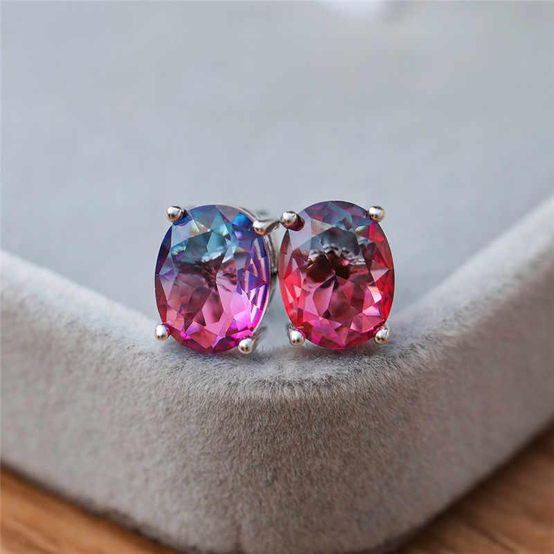 Rongxing Lucu Oval Rainbow Crystal Zircon Stud Anting-Anting untuk Wanita 925 Perak Diisi Multicolor CZ Batu Anting-Anting Fashion Perhiasan