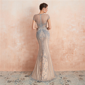 Image 2 - New Arrivals In Stock Luxurious Sexy Formal Evening Dresses Crystal Beaded Robe De Soiree  Real Photos WT5553
