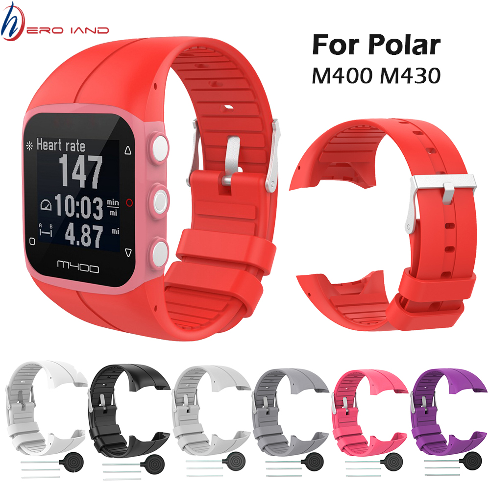 Silicone Colorful Replace Watch Strap For <font><b>Polar</b></font> M400 <font><b>M430</b></font> GPS Running Smart Watch Replace Wrist Band For <font><b>Polar</b></font> M400 Replacement image