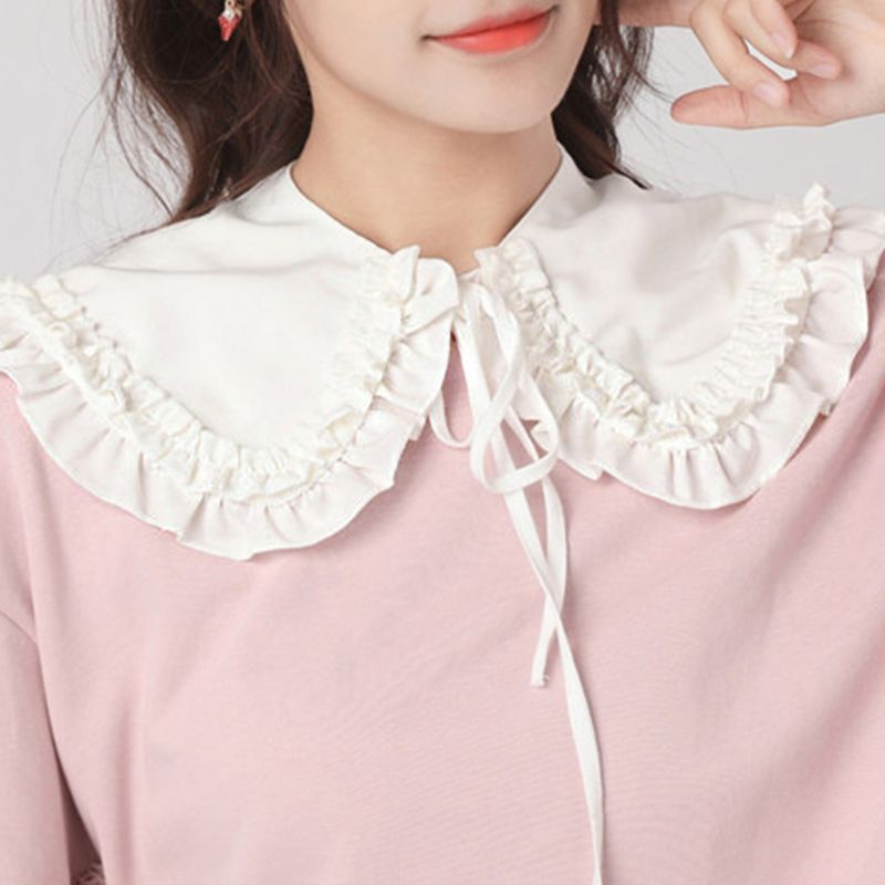 2020 Japanese Women Girls Lolita Doll Double Layer Ruffles Fake Collar Shoulder Wrap