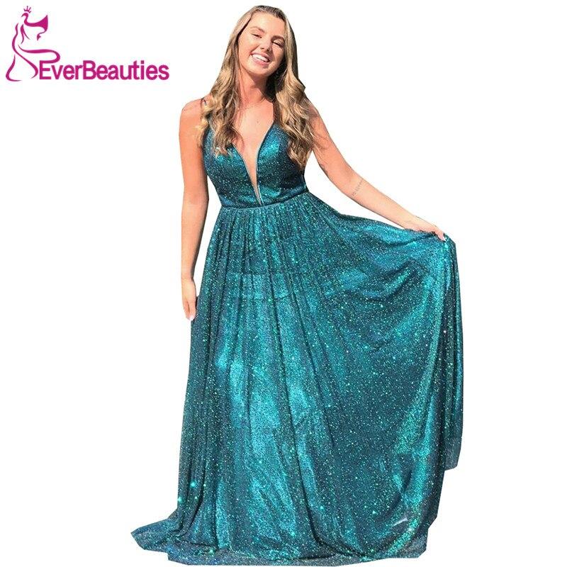 Vestidos Formales Evening Dress Long 2020 A-Line Robe De Soiree V-Neck Sequins Dress Women вечерние платья