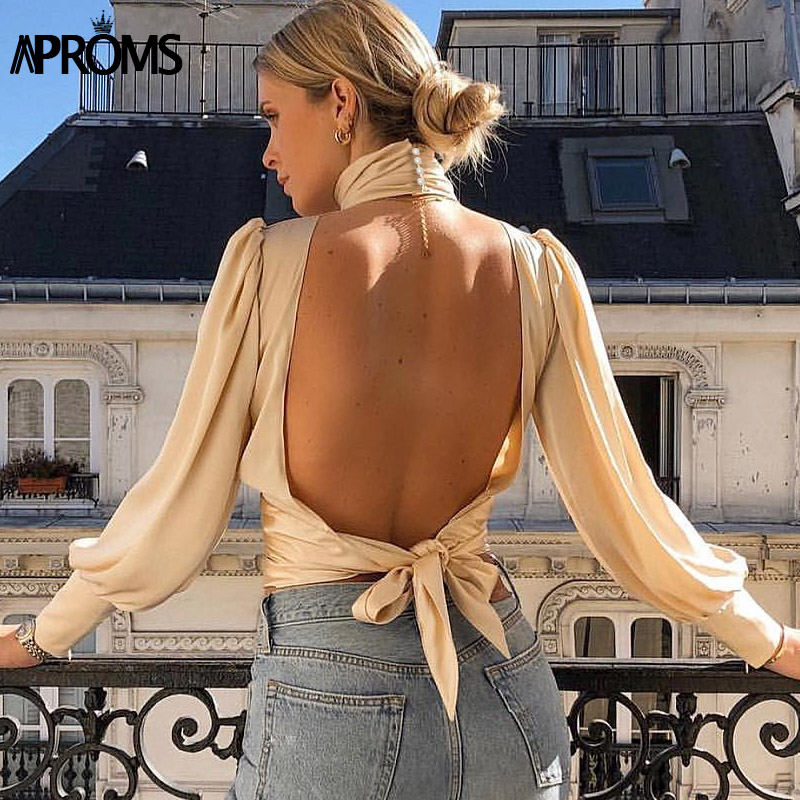 Aproms Vintage Satin Ruched Blouse Women Sexy Backless Lace Up Female Top Shirt Autumn Long Sleeve Ladies Blouses 2020
