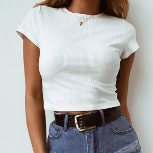 25# Fashion Womens Tops Casual Solid Short Sleeve Tops for women Short O-Neck Crop Top Simple Slim Tank Tops топ женский