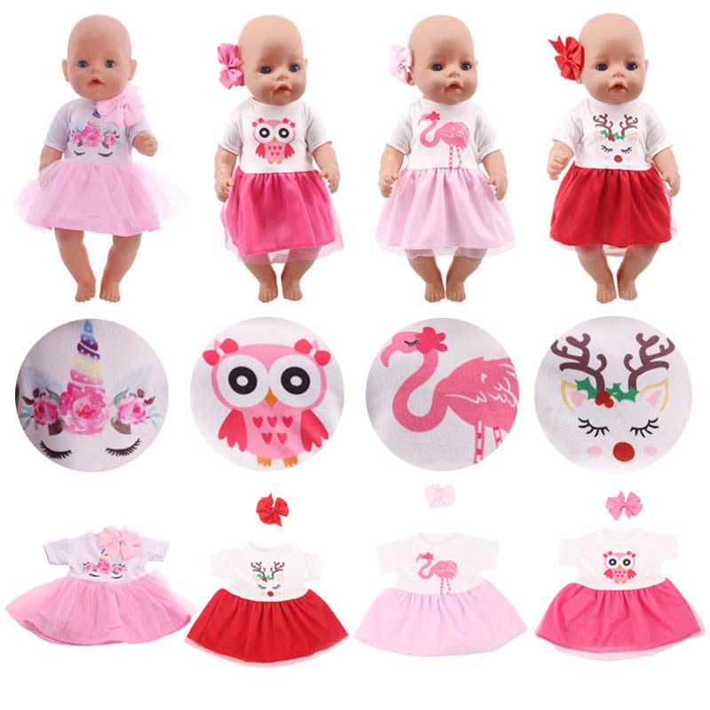 Doll Clothes Unicorn Owl Meraid Skirt Fit 18 Inch American&43 Cm Baby New Born Doll Generation Christmas Girl`s