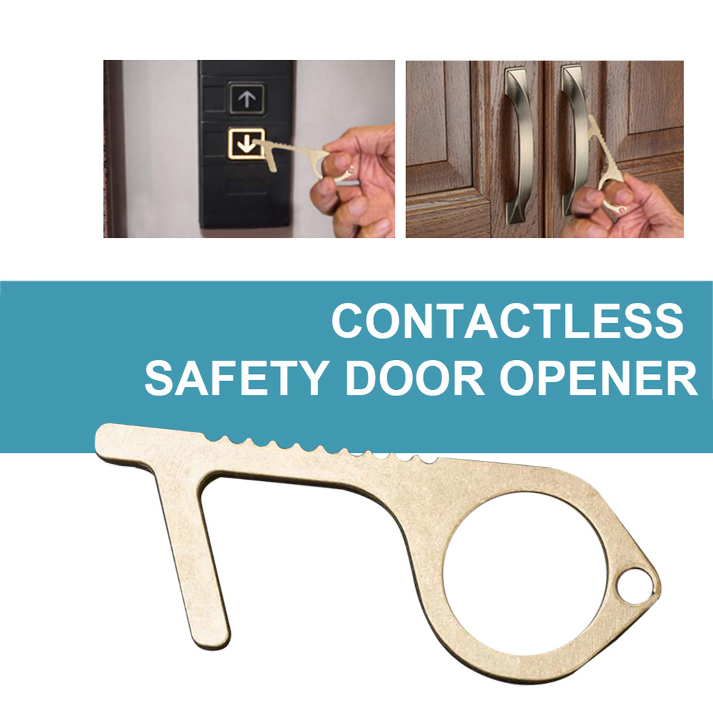 Portable Press Elevator Tool Hygiene Hand The Safe And Easy Way To Avoide Germs-Contactless Safety Isolation Brass Key