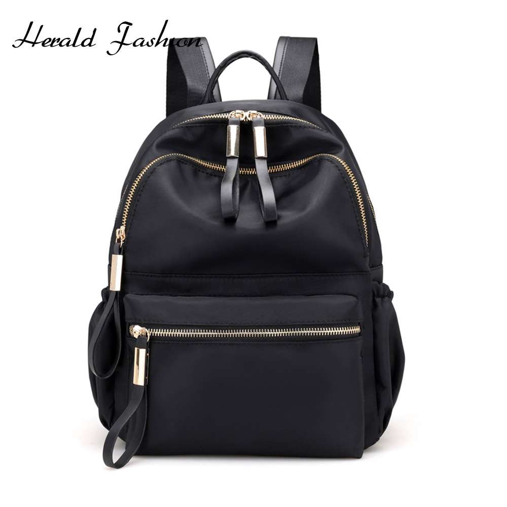 Herald Fashion Black Backpack Women Waterproof Nylon School Bags for Teenage Girls High Quality Fashion Travel Bag Sac image