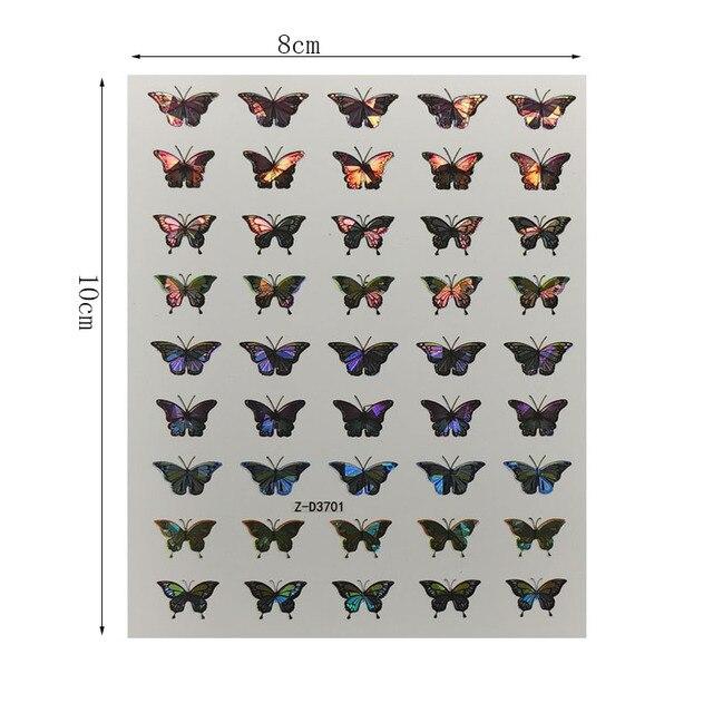 1 feuille Nail Art Laser couleur belle papillon autocollant printemps été papillon conçoit manucure décalcomanies