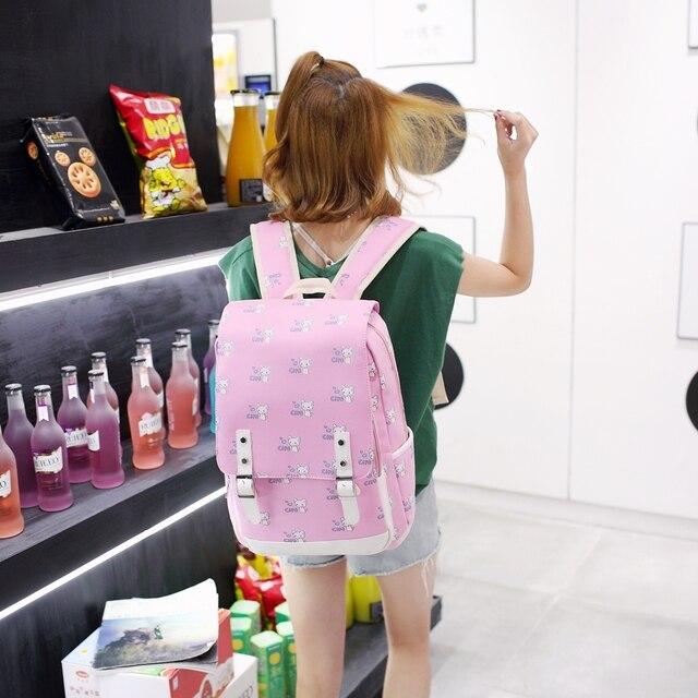 Фото синий школьный рюкзак с принтом кота для женщин и девочек большой цена