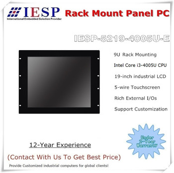 19 inch Rack mount Industrial Panel PC, Core i3-4005U CPU, 4GB RAM, 64GB SSD, 4*RS232, Touch panel pc, industrial computer