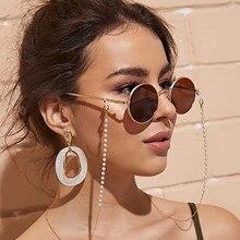 Las mujeres joyería de moda perlas de cadenas para anteojos Anti Slip lectura titular gafas retenedor cordón cable