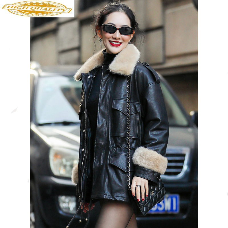 Genuine Leather Jacket Real Mink Fur Collar Sheepskin Coat Winter Jacket Women Warm Down Jackets Chaqueta Mujer MY3926