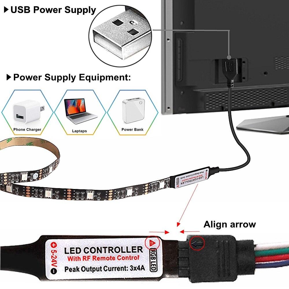 USB лампа для шкафа RGB светодиодная лента ламповая подсветка ТВ ПОДСВЕТКА ПК Музыка/RF/Bluetooth контроллер DC5V SMD 5050 Светодиодная лампа лампада