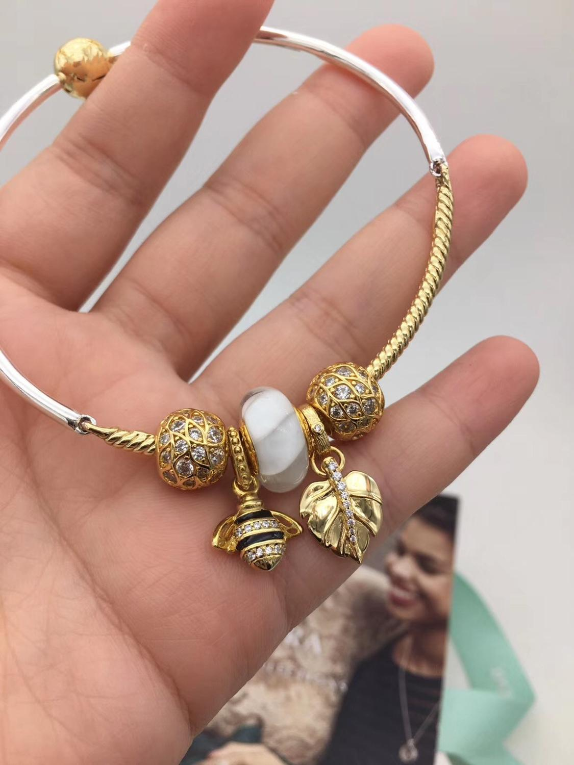 High Quality 1:1 100%925 Sterling Silver White Glaze Beads Gold Leaf Bee Bracelet Free Shipping