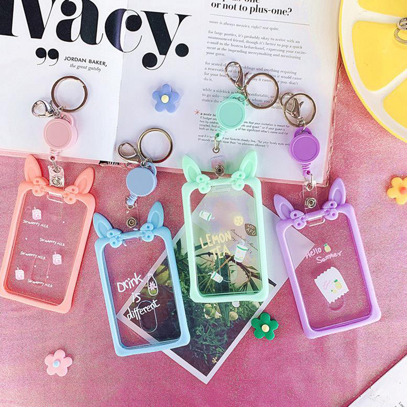 1 Pcs Rabbit Ear Fruit Drinks Retractable Badge Card Holders Nurse Doctor Exhibition Pull Key ID Name Card Badge Holder