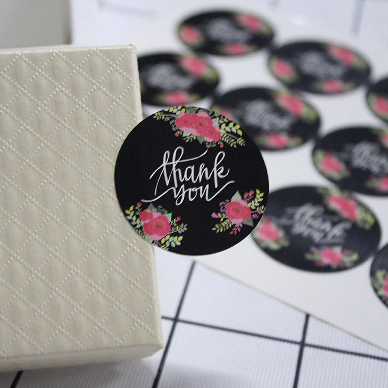 5Sheets=60Pcs Thank You Adhesive Stickers Sealing Label Stickers Handmade Paper Stickers For Gifts Girls Rose Stickers