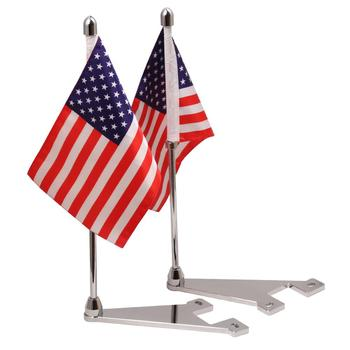 Motorcycle Flagpole Mount and American Flag USA For Harley Touring Electra Glide 14-20 Silver