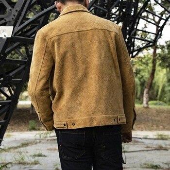 Chaqueta de cuero genuino para hombre Vintage de alta calidad para hombre chaqueta de cuero de gamuza de una sola botonadura para hombre chaqueta de carga de motociclistas de Motor Casual