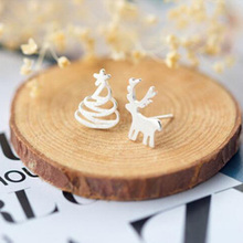 SMJEL Cute Animal Earrings Small Tree Deer Stud Earrings for Women Kids Ear Studs Jewelry Christmas New Year Kids Gift Wholesale