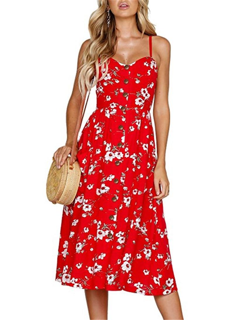 Boho Sexy Floral Dress Summer Vintage Casual Sundress Female Beach Dress Midi Button Backless Polka Dot Striped Women Dress2020  15