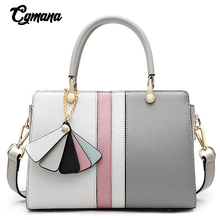 Brand Handbag For Women Panelled Colors Tote Bag 100% Genuine Leather Office Lady Simple Crossbody Shoulder Purse