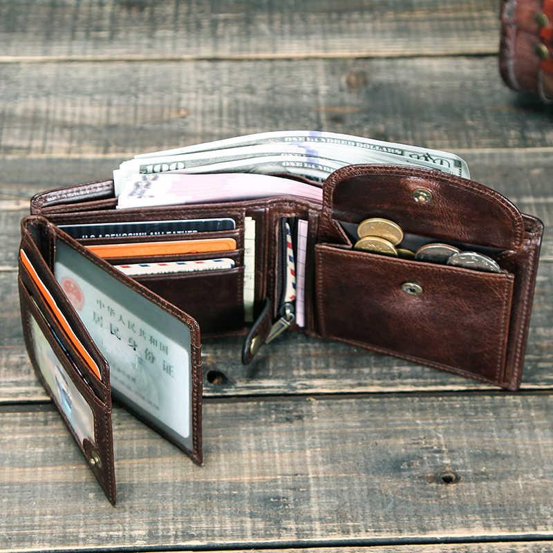 แกะสลักฟรี 100% ของแท้หนังผู้ชายกระเป๋าสตางค์กระเป๋าสตางค์ขนาดเล็ก Cartera Portomonee ชาย Walet เงิน VINTAGE กระเป๋า