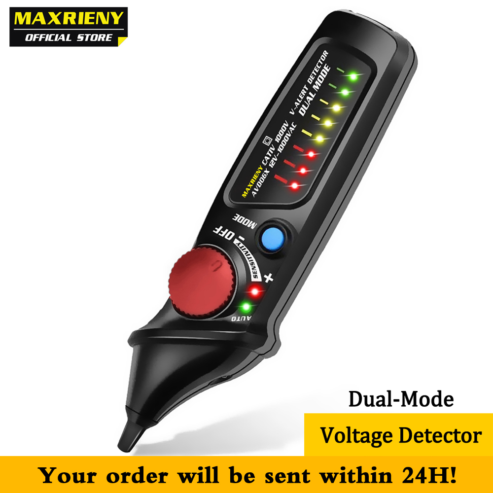 Non-Contact Voltage Detector Tester MAXRIENY AVD06 Socket Wall AC Power Outlet Live Test Pen Indicator 12~1000V Match Multimeter