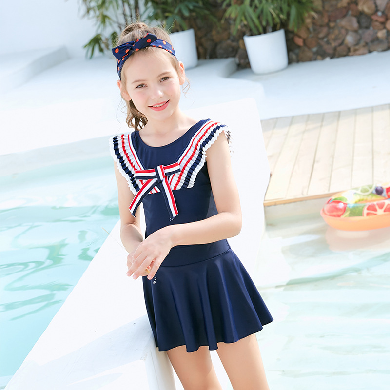 2019 New Style Hot Sales Children Swimming One-piece Large Bow Flounced Solid Color Small Qing Xin Wen Quan GIRL'S Swimsuit