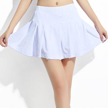 Jingdong lato w nowym stylu sportowa krótka spódniczka południowokoreańska jedwabna damska sportowa spódnica do tenisa spódnica do biegania Casual midi-sk tanie i dobre opinie Solid Color Guangdong