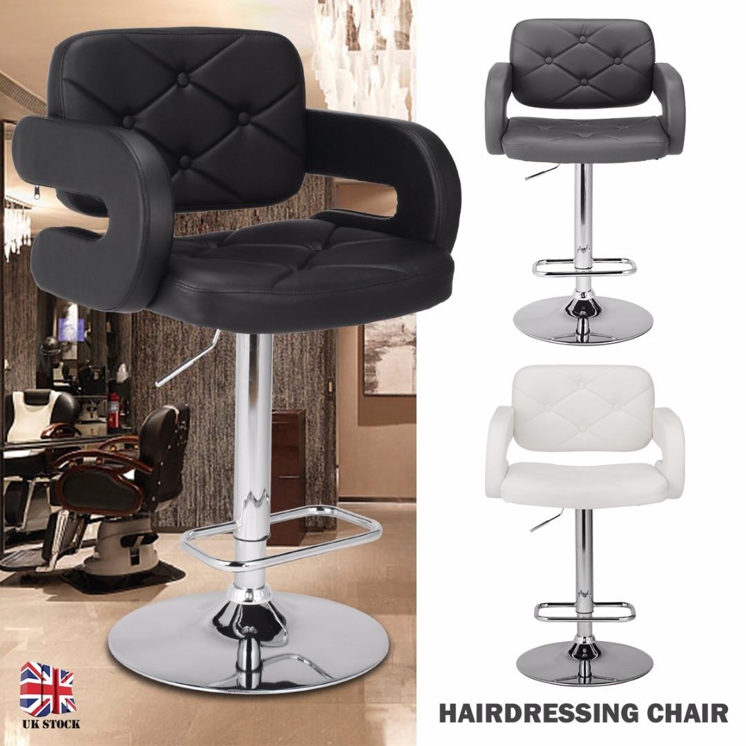 Adjustable Swivel Vintage PU Leather Bar Stool Barbershops Salons Tattoo Chairs