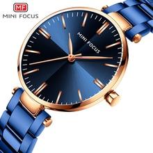 Women Watches Luxury Quartz Wristwatch MINIFOCUS Brand Elegant Blue Ladies Watch Full Steel Ultra-thin Fashion Woman Clock 0265