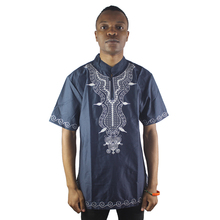 Africa Ethnic Tops Dashiki Embroidered Men`s Short Sleeved Shirts African Wedding