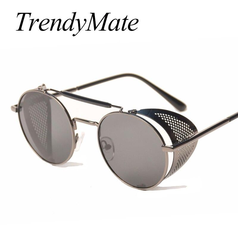 TrendyMate Retro Steampunk Sonnenbrille Runde Designer Steam Punk Metall Shields Sonnenbrille Männer Frauen UV400 Gafas de Sol 086M