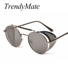 TrendyMate Retro Steampunk Sunglasses Round Designer Steam Punk Metal S