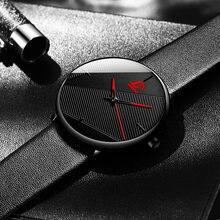 2021 минимализм часы мужские модные ультра тонкие черные кожаные
