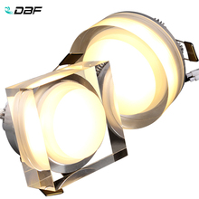 [DBF]LED Dimmable Crystal Downlight Round/square 1W 3W 5W 7W LED Ceiling Light 85-265V Recessed Lamp Down for Home Decoration