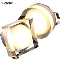 DBF-Luz LED descendente de cristal, foco redondo/cuadrado, 1W, 3W, 5W, 7W, luz LED empotrable de techo, 85-265V, iluminación de pared para el hogar
