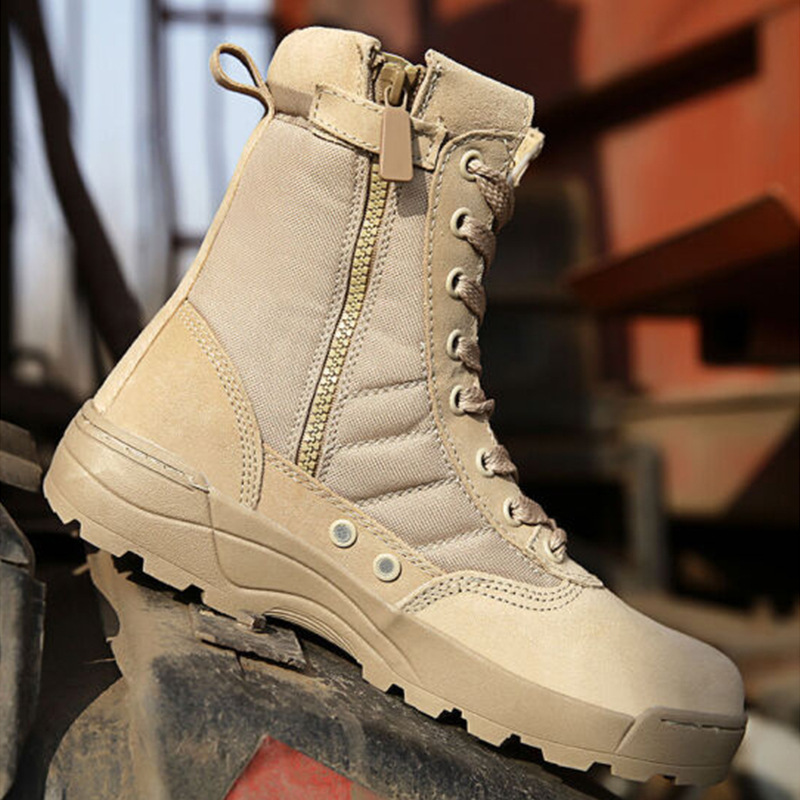 Warmth Outdoor Hiking Shoes for Men Waterproof Military Tactical Boots Combat Army High Top Desert Boots-3