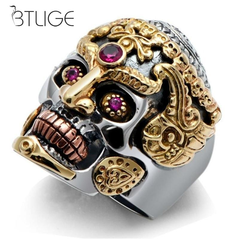 Fashion Men Domineering Skull King Rings Rock Punk Skull Men Ring Jewelry