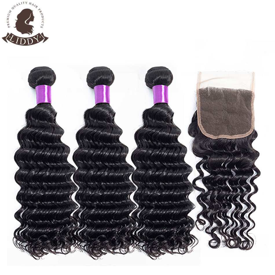 Liddy Deep Wave Bundles With Closure Malaysian Hair Bundles With Closure 100% Human Hair Natural Color Non-remy Hair Extensions