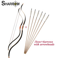44/55 6 15lbs 20 40lbs Adults or Children Archery Traditional Recurve Bow With 6pcs Bamboo Arrow Hunting Shooting Accessories