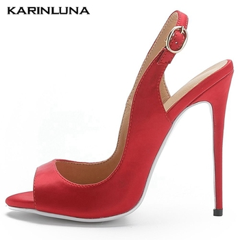 Karinluna On Sale Sexy Plus Size 48 Slingback Fetish High Heels Party Summer women's Sandals Shoes Woman