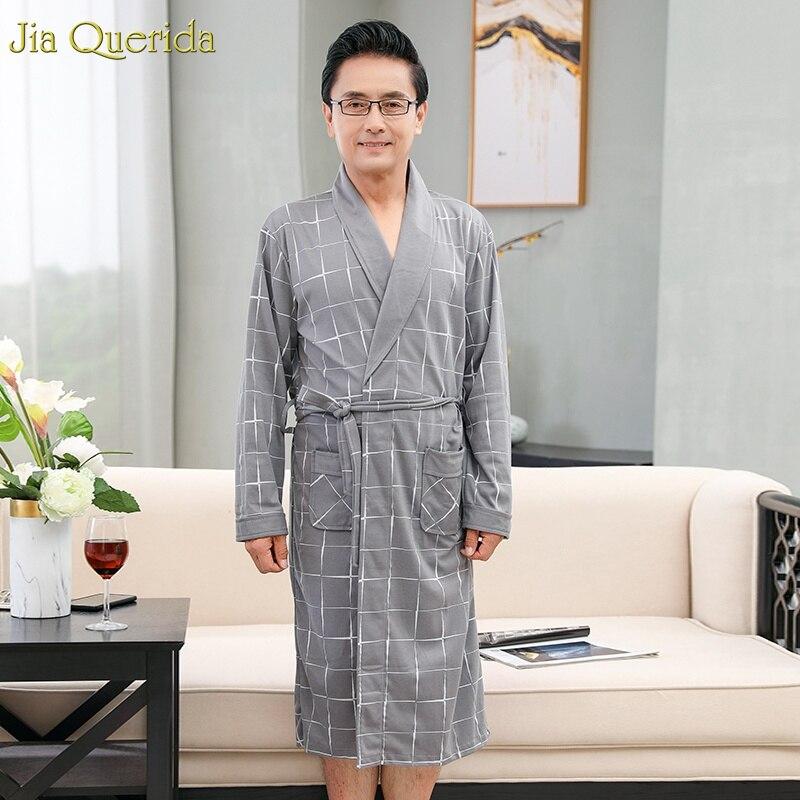 Robe Men Sleepwear Man Kimono Plus-Size Cotton Plaid Grey BELTED Lapel 100-%