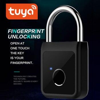 Tuya Smart Bluetooth Fingerprint Lock Phone unlock Keyless USB Rechargeable Door Padlock Life - discount item  20% OFF Access Control